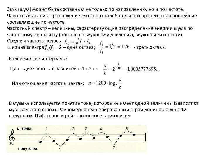 Звук (шум) может быть составным не только по направлению, но и по частоте. Частотный