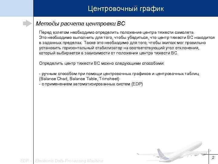 Центровочный график Методы расчета центровки ВС Перед взлетом необходимо определить положение центра тяжести самолета.