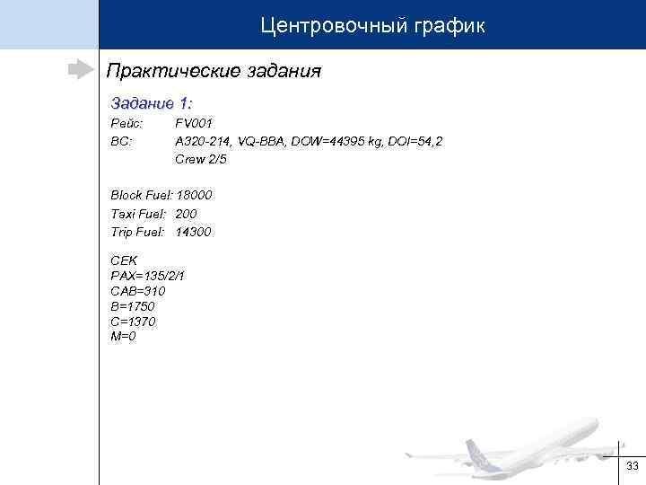 Центровочный график Практические задания Задание 1: Рейс: ВС: FV 001 A 320 -214, VQ-BBA,