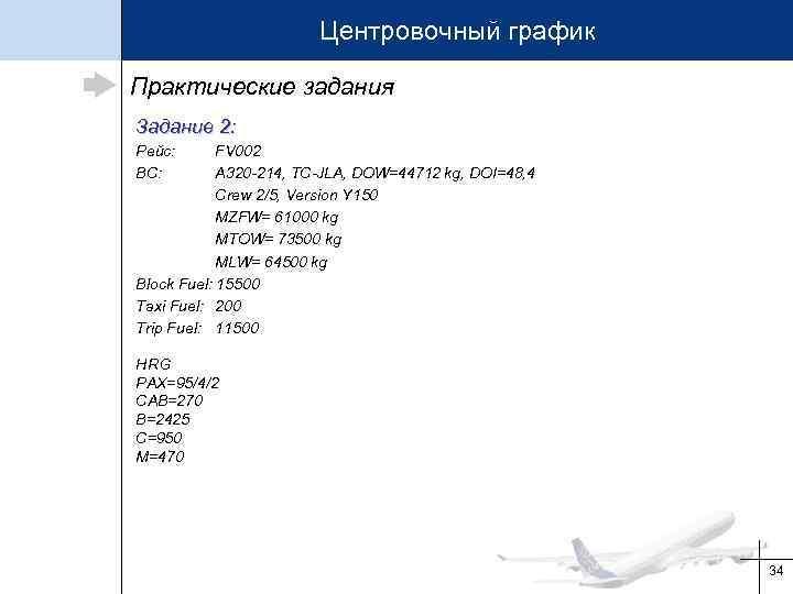 Центровочный график Практические задания Задание 2: Рейс: ВС: FV 002 A 320 -214, TC-JLA,