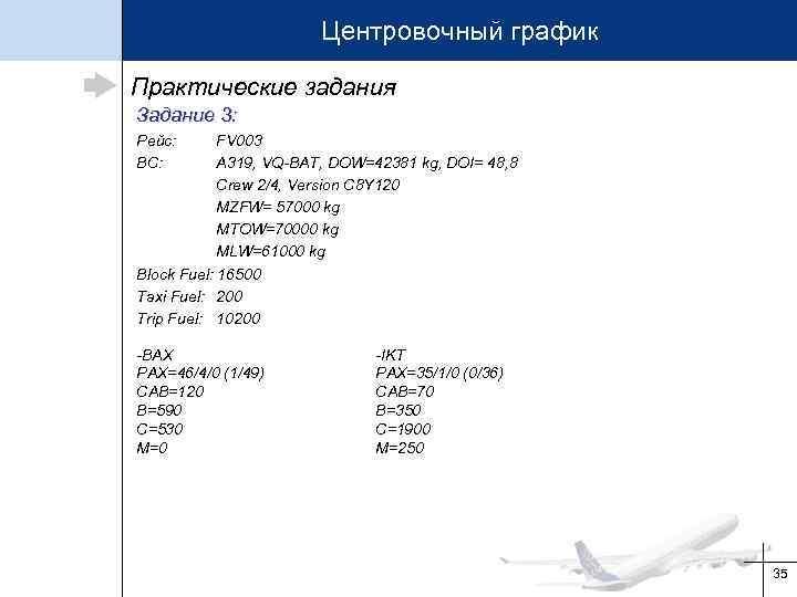 Центровочный график Практические задания Задание 3: Рейс: ВС: FV 003 А 319, VQ-BAT, DOW=42381