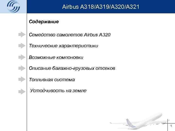 Airbus A 318/A 319/A 320/A 321 Содержание Семейство самолетов Airbus A 320 Технические характеристики