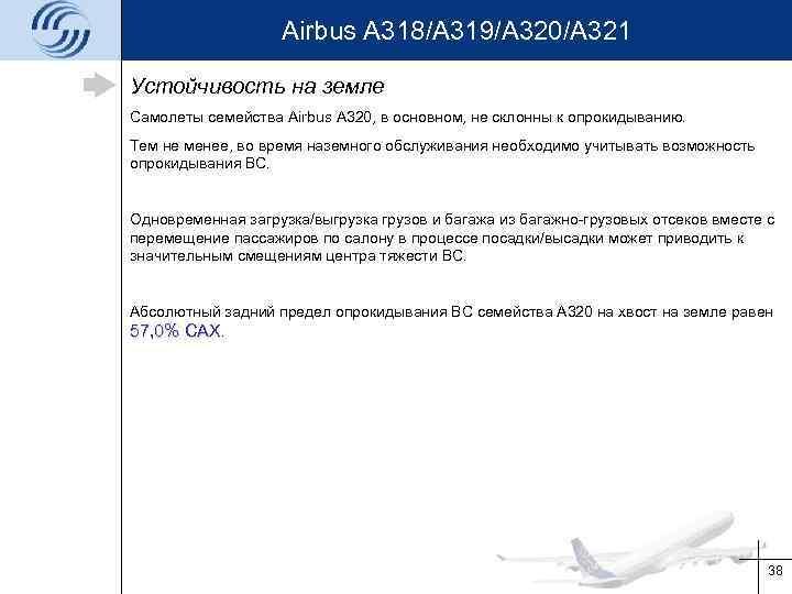 Airbus A 318/A 319/A 320/A 321 Устойчивость на земле Самолеты семейства Airbus A 320,