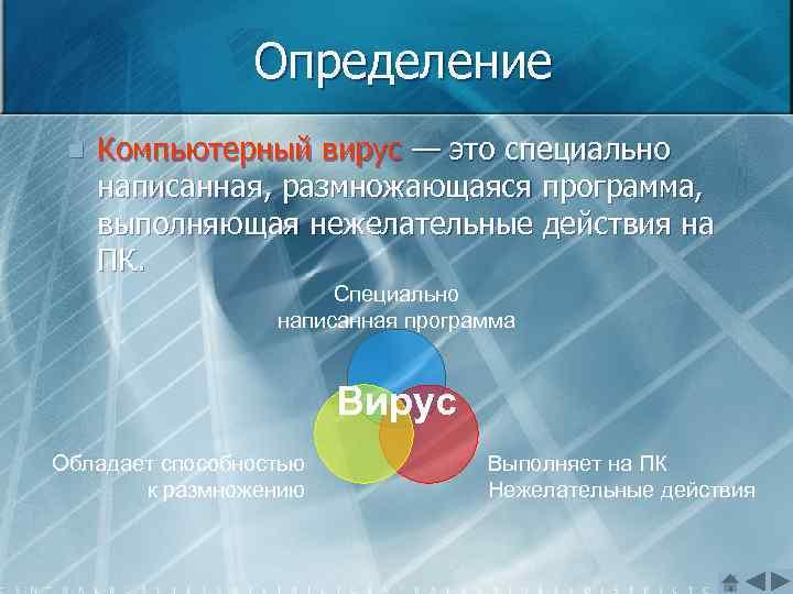 Определение n Компьютерный вирус — это специально написанная, размножающаяся программа, выполняющая нежелательные действия на
