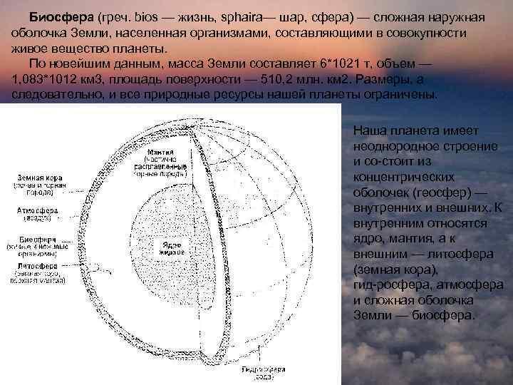 Биосфера (греч. bios — жизнь, sphaira— шар, сфера) — сложная наружная оболочка Земли, населенная