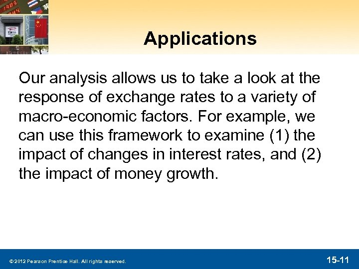 Applications Our analysis allows us to take a look at the response of exchange