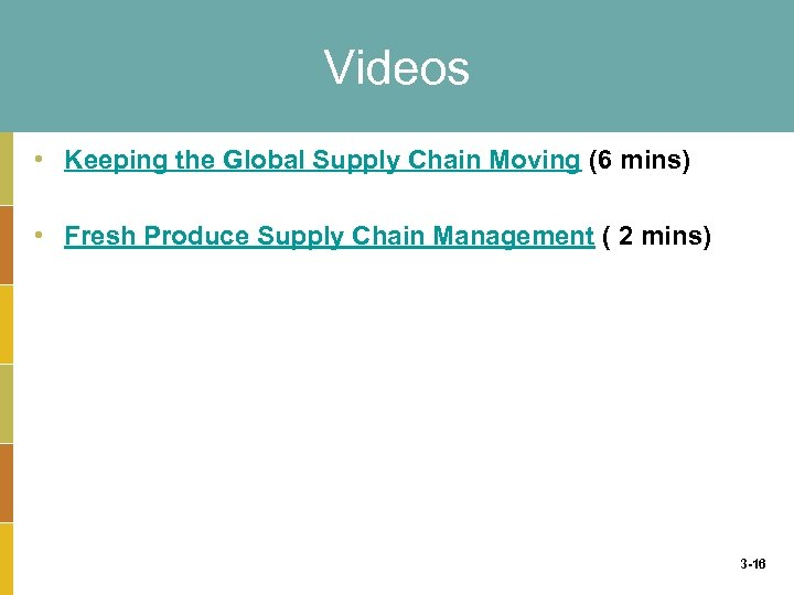 Videos • Keeping the Global Supply Chain Moving (6 mins) • Fresh Produce Supply