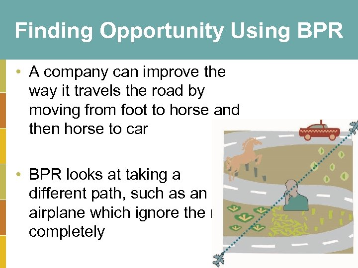 Finding Opportunity Using BPR • A company can improve the way it travels the