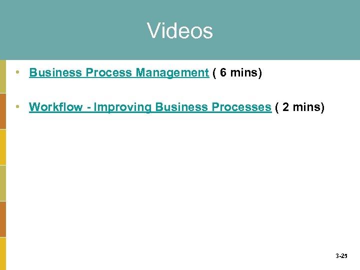 Videos • Business Process Management ( 6 mins) • Workflow - Improving Business Processes