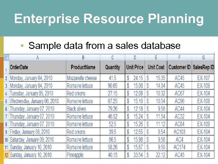 Enterprise Resource Planning • Sample data from a sales database 3 -27