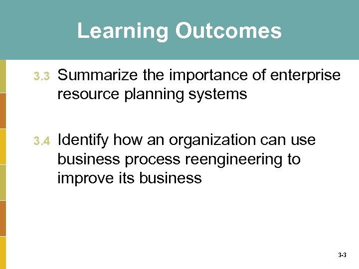 Learning Outcomes 3. 3 Summarize the importance of enterprise resource planning systems 3. 4
