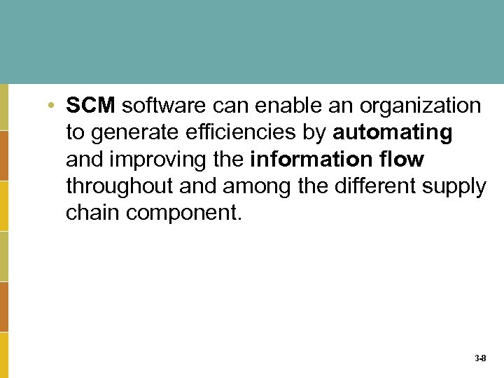 • SCM software can enable an organization to generate efficiencies by automating and