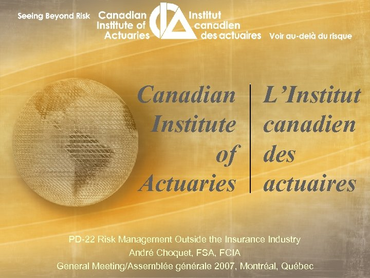 Canadian Institute of Actuaries L'Institut canadien des actuaires PD-22 Risk Management Outside the Insurance