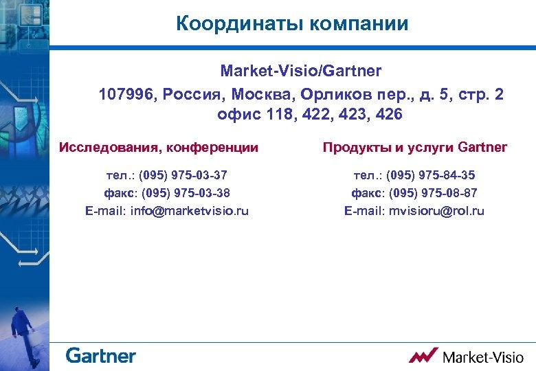Координаты компании Market-Visio/Gartner 107996, Россия, Москва, Орликов пер. , д. 5, стр. 2 офис