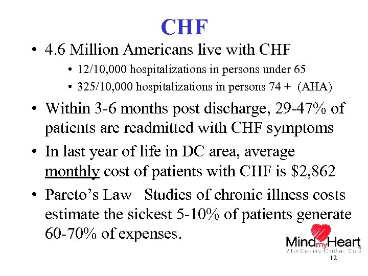 CHF • 4. 6 Million Americans live with CHF • 12/10, 000 hospitalizations in