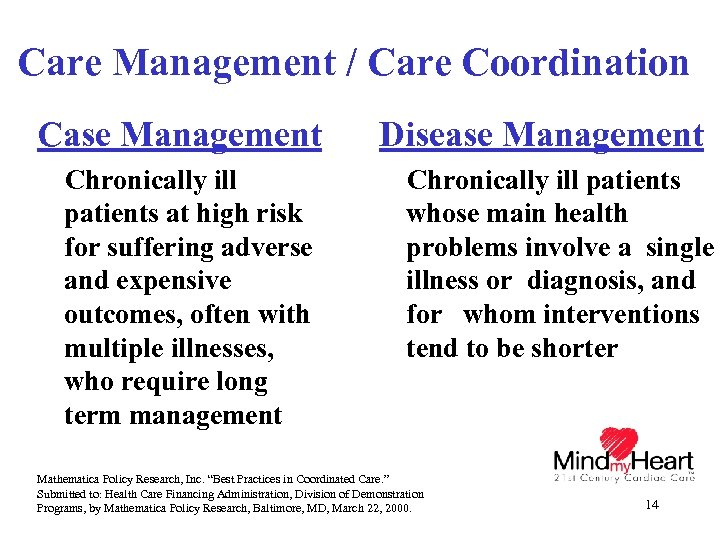 Care Management / Care Coordination Case Management Chronically ill patients at high risk for