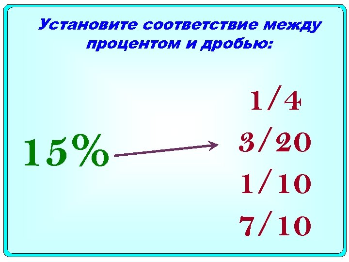 Установите соответствие между процентом и дробью: 15% 1/4 3/20 1/10 7/10