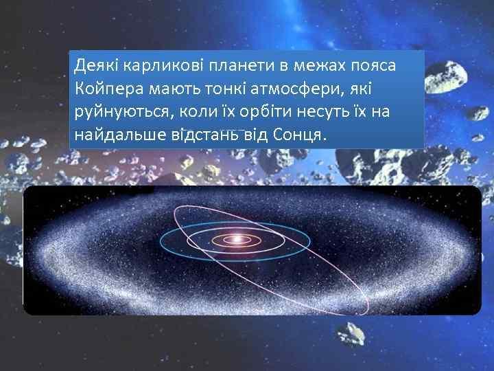 Деякі карликові планети в межах пояса Койпера мають тонкі атмосфери, які руйнуються, коли їх