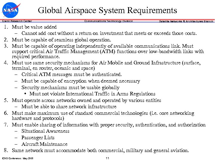 Global Airspace System Requirements Glenn Research Center Communications Technology Division Satellite Networks & Architectures