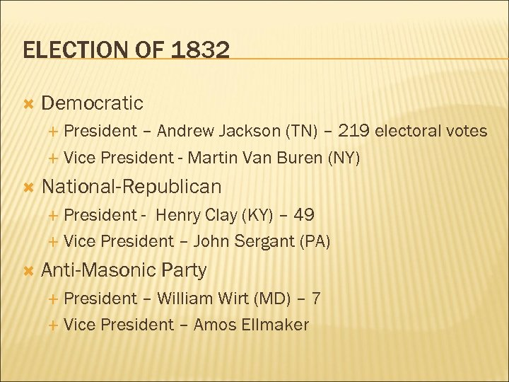ELECTION OF 1832 Democratic President – Andrew Jackson (TN) – 219 electoral votes Vice