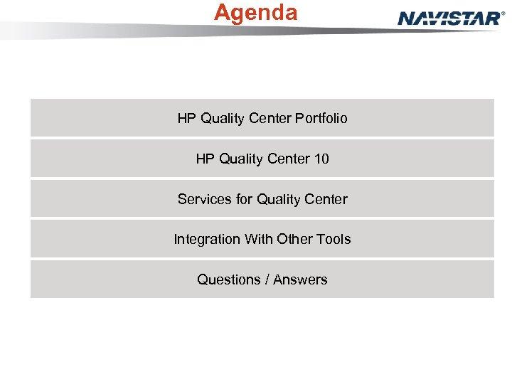 Agenda HP Quality Center Portfolio HP Quality Center 10 Services for Quality Center Integration