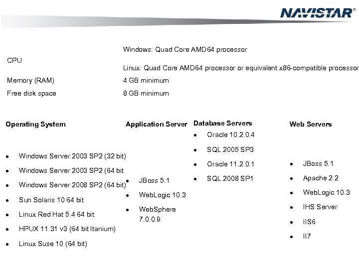 Windows: Quad Core AMD 64 processor CPU Linux: Quad Core AMD 64 processor or