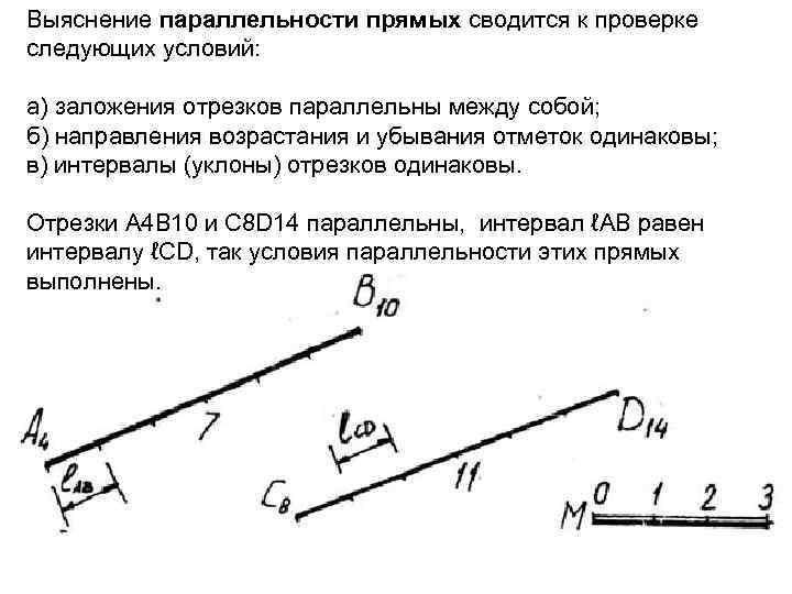 Выяснение параллельности прямых сводится к проверке следующих условий: а) заложения отрезков параллельны между собой;