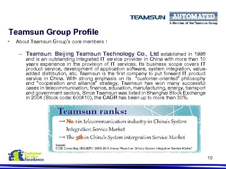Teamsun Group Profile • About Teamsun Group's core members: – Teamsun: Beijing Teamsun Technology