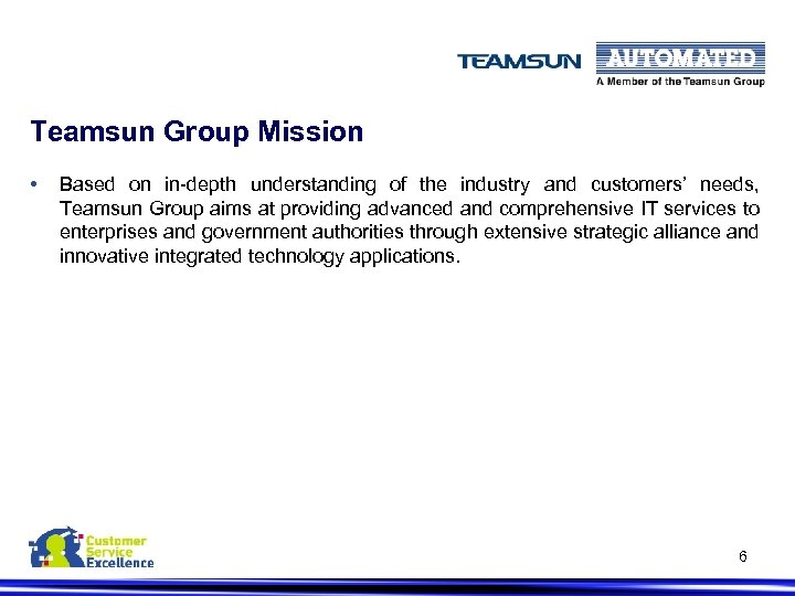 Teamsun Group Mission • Based on in-depth understanding of the industry and customers' needs,