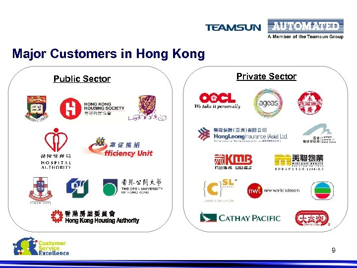 Major Customers in Hong Kong Public Sector Private Sector 9