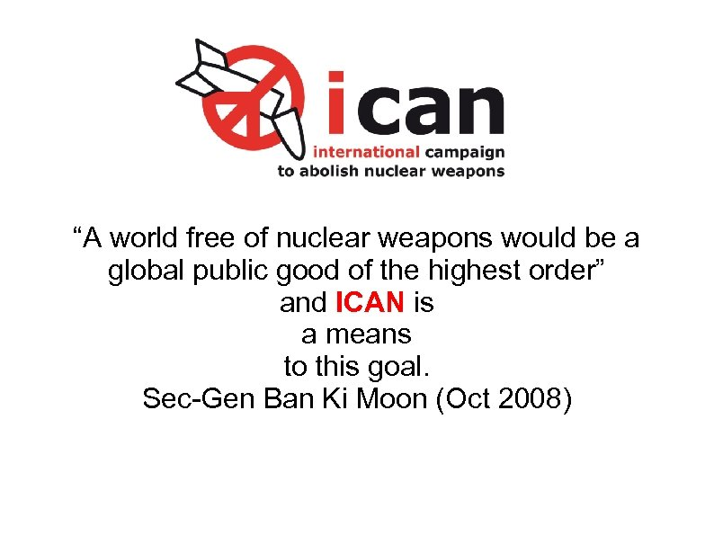 """A world free of nuclear weapons would be a global public good of the"