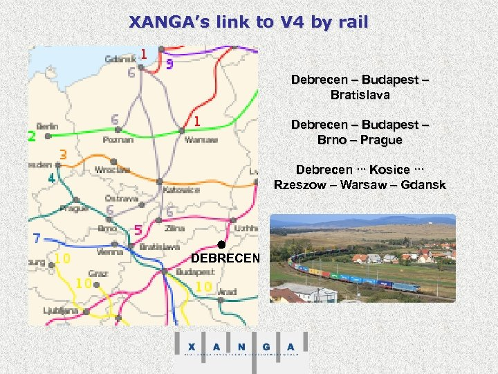 XANGA's link to V 4 by rail Debrecen – Budapest – Bratislava Debrecen –