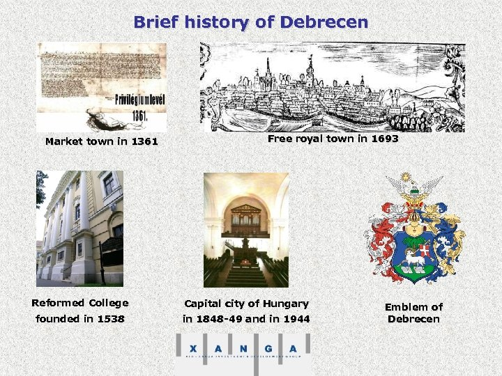 Brief history of Debrecen Market town in 1361 Free royal town in 1693 Reformed