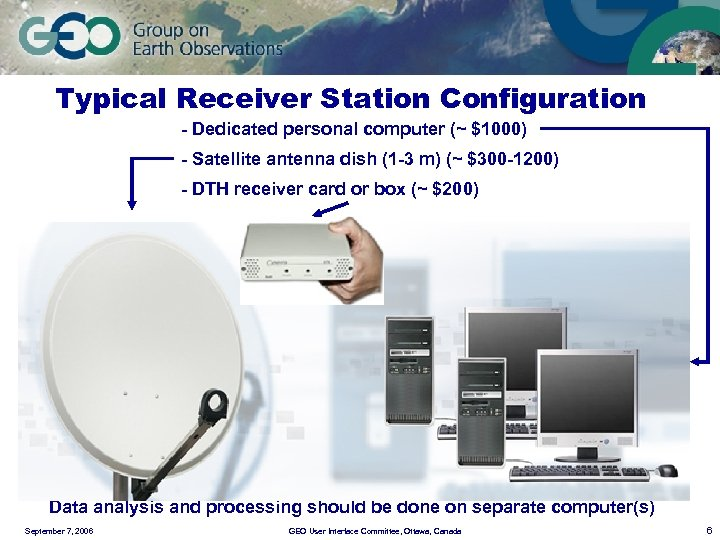 Typical Receiver Station Configuration - Dedicated personal computer (~ $1000) - Satellite antenna dish
