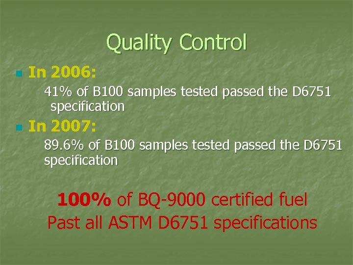 Quality Control n In 2006: 41% of B 100 samples tested passed the D