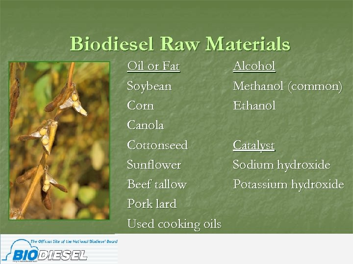 Biodiesel Raw Materials Oil or Fat Soybean Corn Canola Cottonseed Sunflower Beef tallow Pork