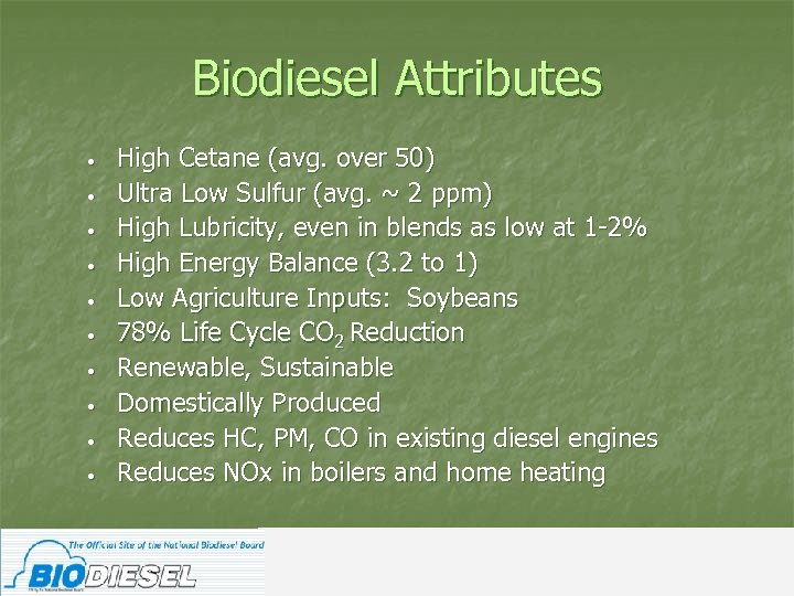 Biodiesel Attributes • • • High Cetane (avg. over 50) Ultra Low Sulfur (avg.