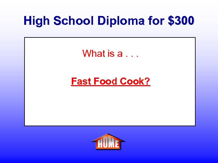 High School Diploma for $300 What is a. . . Fast Food Cook?