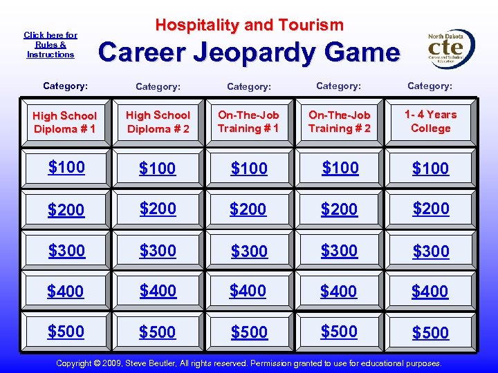 Click here for Rules & Instructions Hospitality and Tourism Career Jeopardy Game Category: Category: