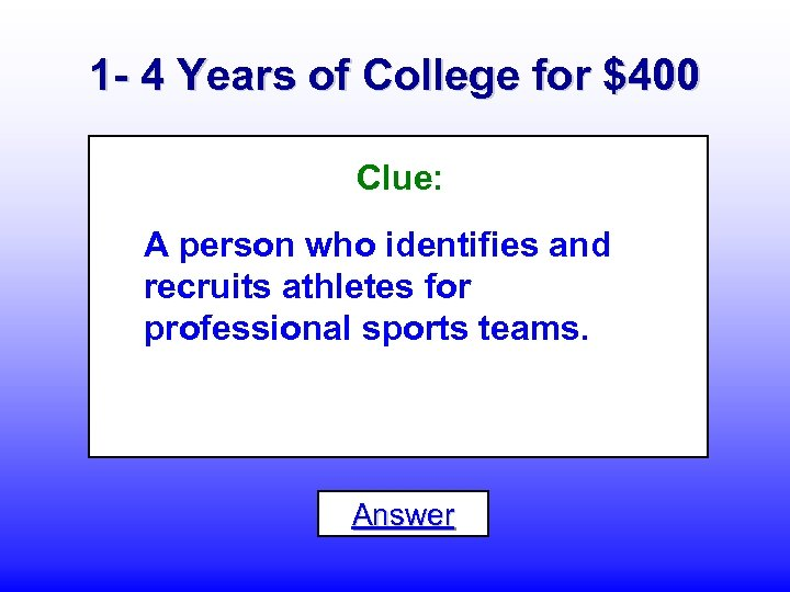 1 - 4 Years of College for $400 Clue: A person who identifies and