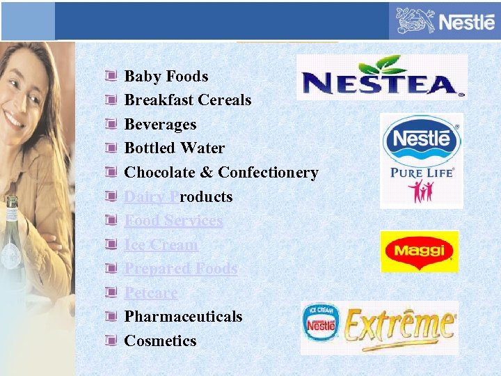 Baby Foods Breakfast Cereals Beverages Bottled Water Chocolate & Confectionery Dairy Products Food Services