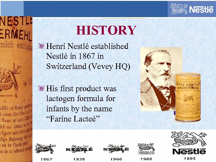 HISTORY Henri Nestlé established Nestlé in 1867 in Switzerland (Vevey HQ) His first product
