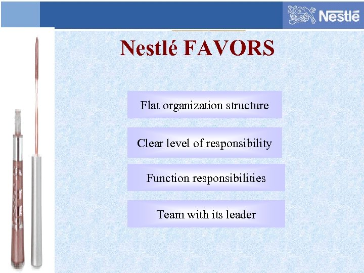 Nestlé FAVORS Flat organization structure Clear level of responsibility Function responsibilities Team with its