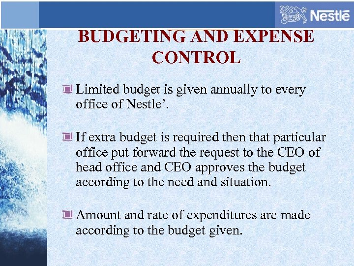 BUDGETING AND EXPENSE CONTROL Limited budget is given annually to every office of Nestle'.