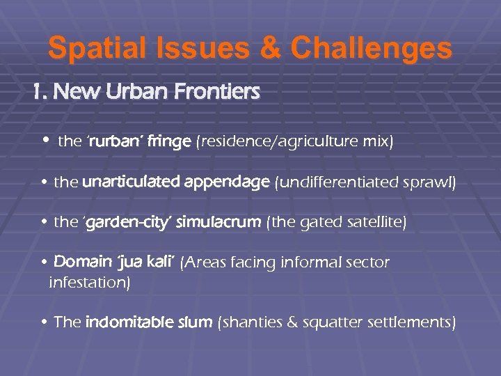 Spatial Issues & Challenges 1. New Urban Frontiers • the 'rurban' fringe (residence/agriculture mix)