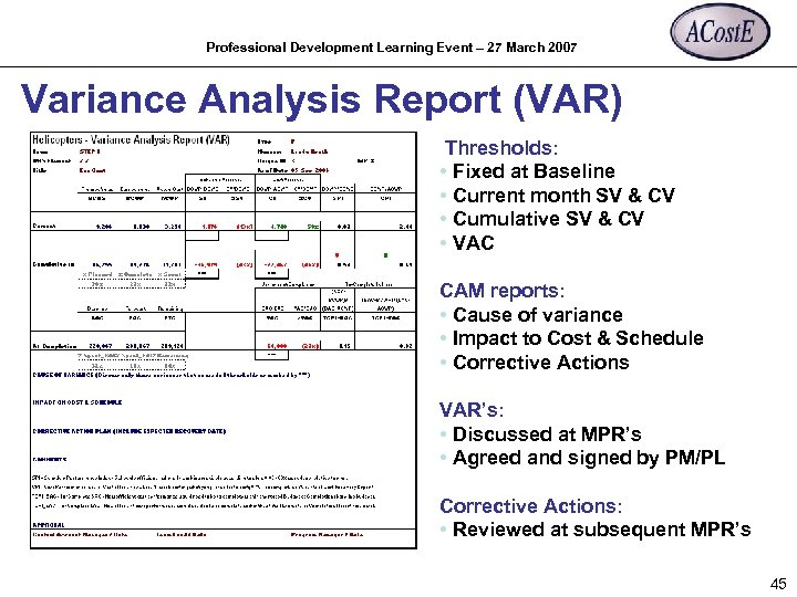 Professional Development Learning Event – 27 March 2007 Variance Analysis Report (VAR) Thresholds: •