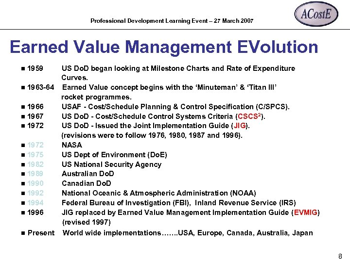 Professional Development Learning Event – 27 March 2007 Earned Value Management EVolution US Do.