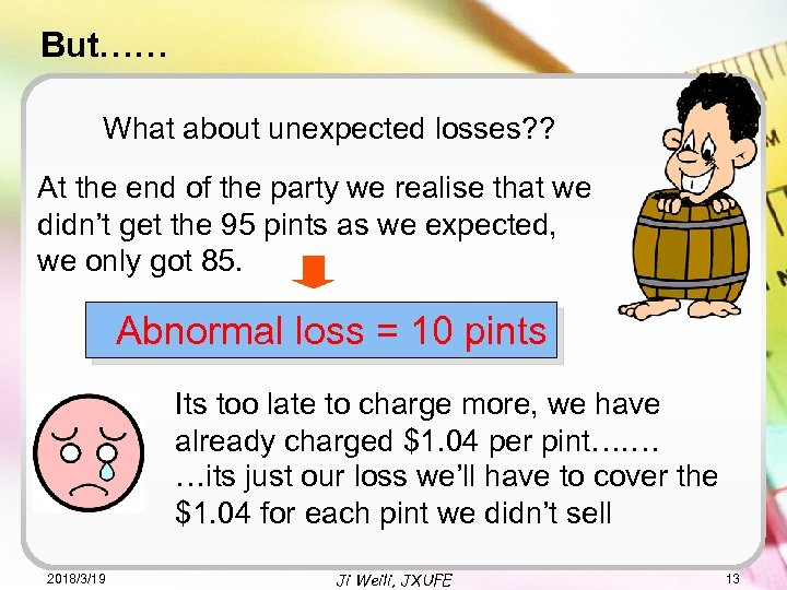 But…… What about unexpected losses? ? At the end of the party we realise