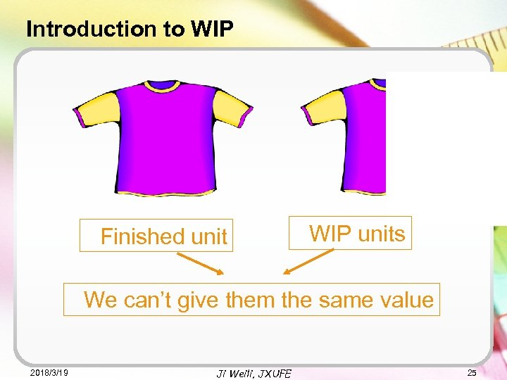 Introduction to WIP Finished unit WIP units We can't give them the same value