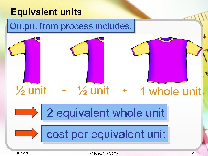 Equivalent units Output from process includes: ½ unit + 1 whole unit 2 equivalent